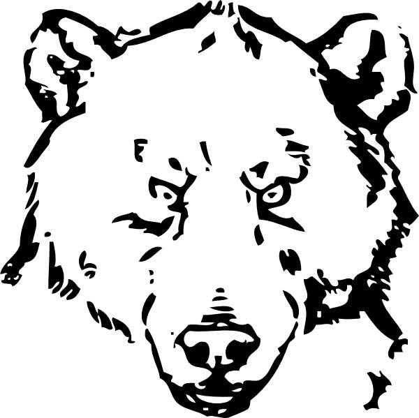 Bear Face Line Drawing : Black bear head clip art cliparts