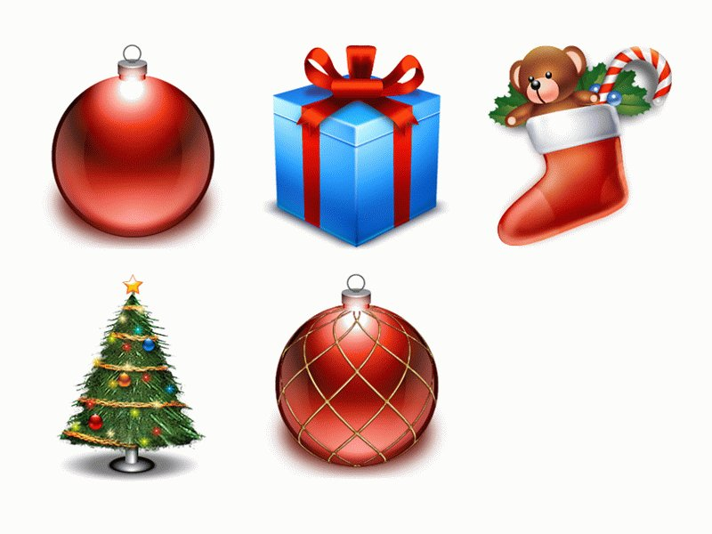 5 Christmas gift cartoon icon | Vector Images - Free Vector Art ...
