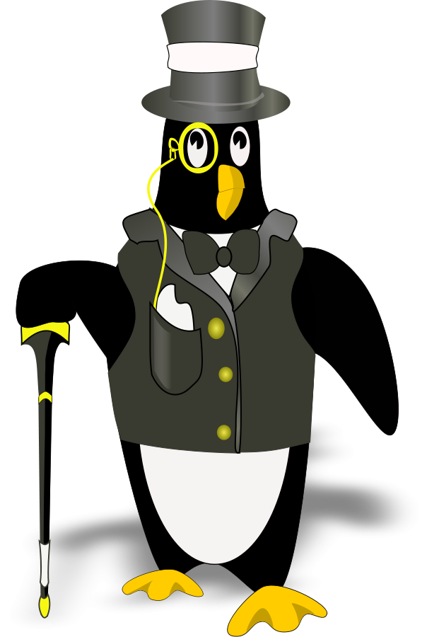 penguin in tux(bordered correctly) Clipart, vector clip art online ...