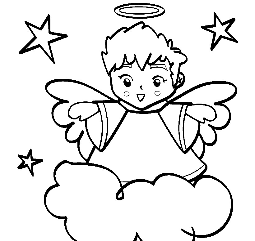 Download A Little Angel Boy Are Flying On Cloud Happily Welcoming ...