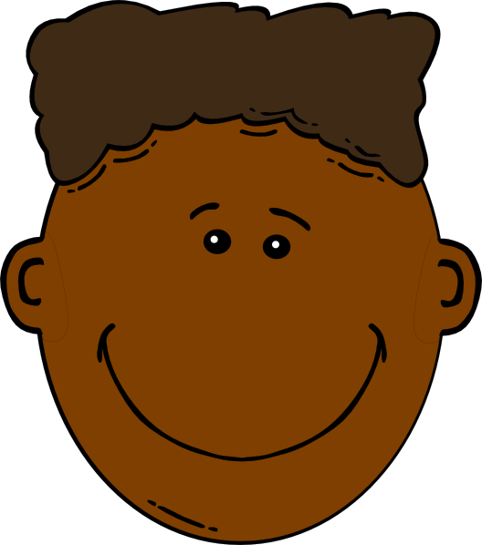 Young Happy Boy With Brown Wet Hair Is Smiling And: Black Boy Cartoon