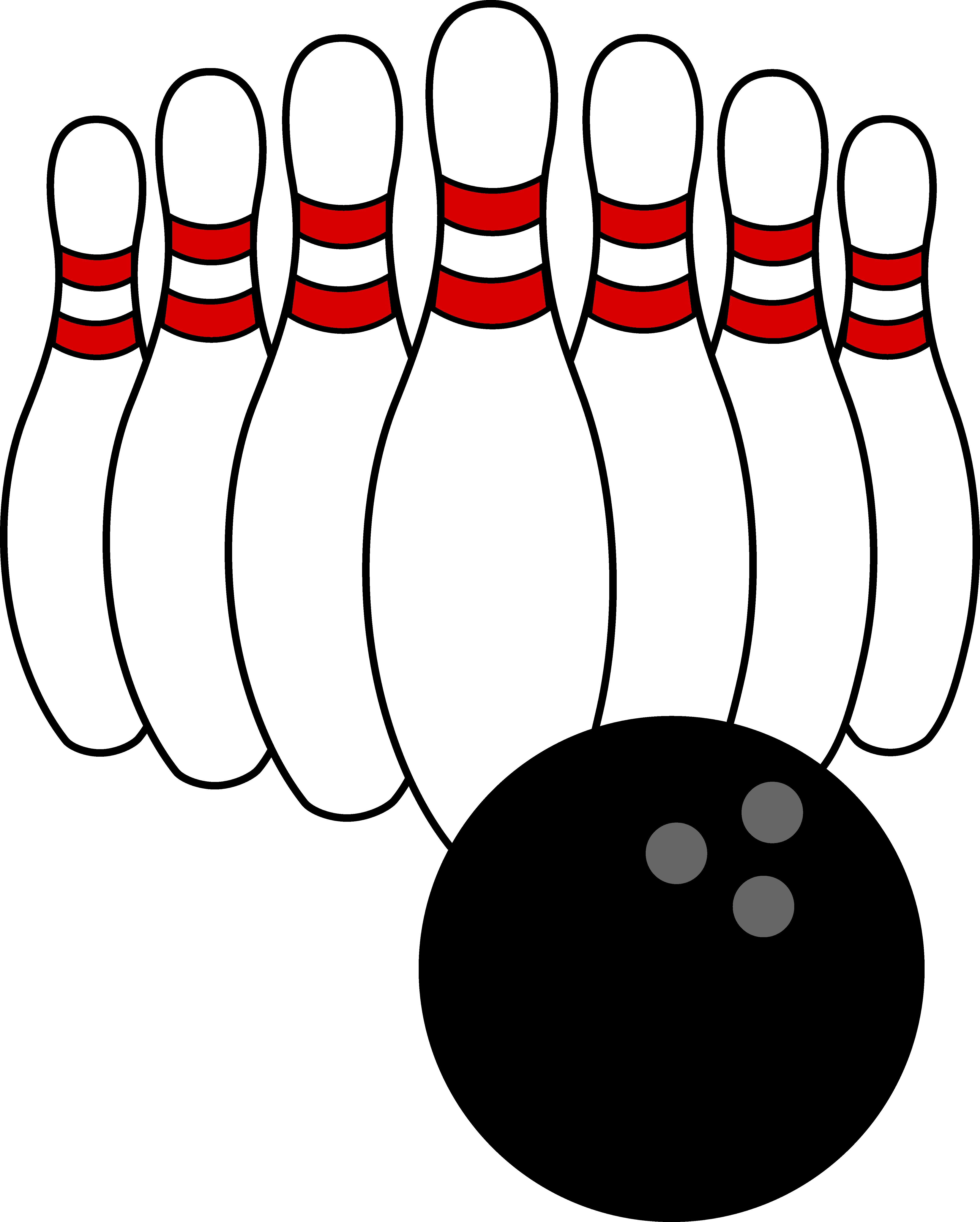 Bowling Ball and Pins - Free Clip Art