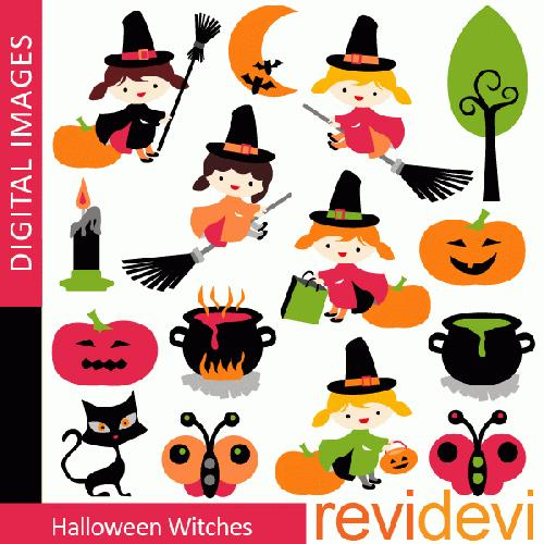 My Grafico: Halloween Witches Clipart
