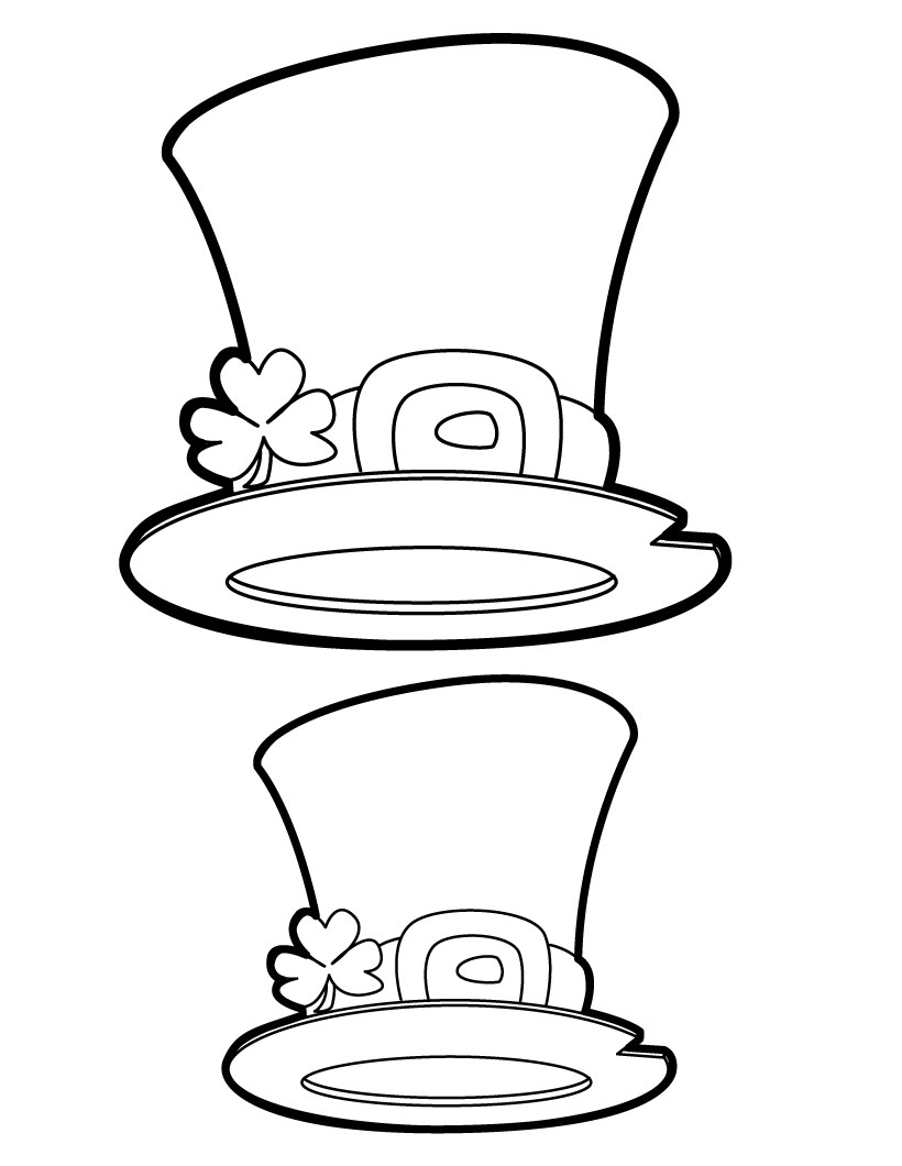 Leprechaun outline for Leprechaun hat template printable