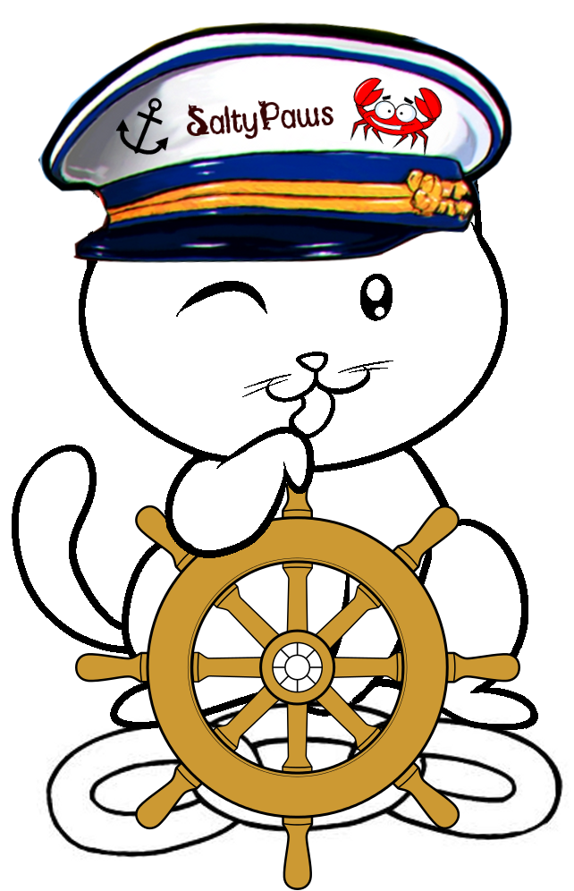 Sailing with SaltyPaws: Project Crab OK - Cartoon Cat Art