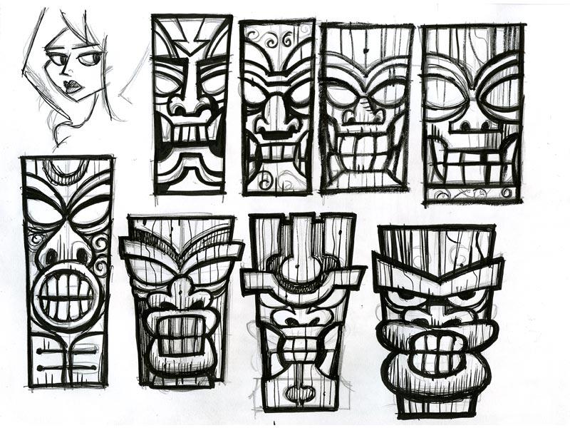 Wooden Tiki Head Drawing Tiki Pics - Cliparts.c...