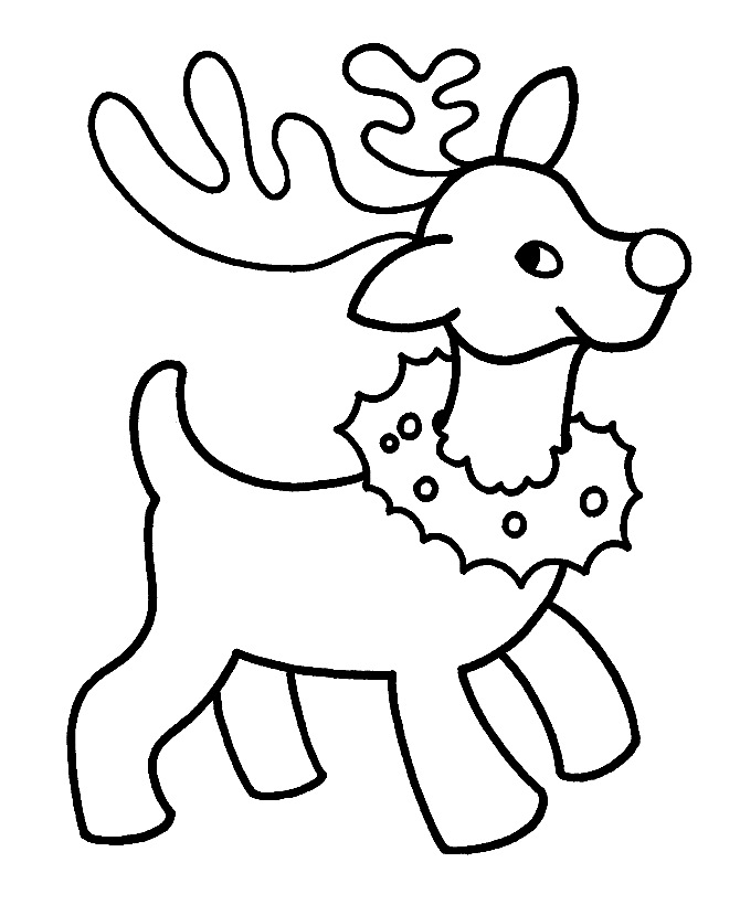Download Cute Small Reindeer With A Christmas Wreath Coloring ...