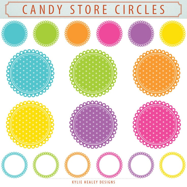 18 Digital Clip Art Scalloped Circles - Candy Store - Spots Whites - …