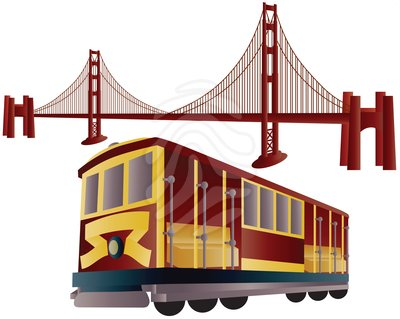 San Francisco Cable Car and Golden Gate Bridge - clipart #