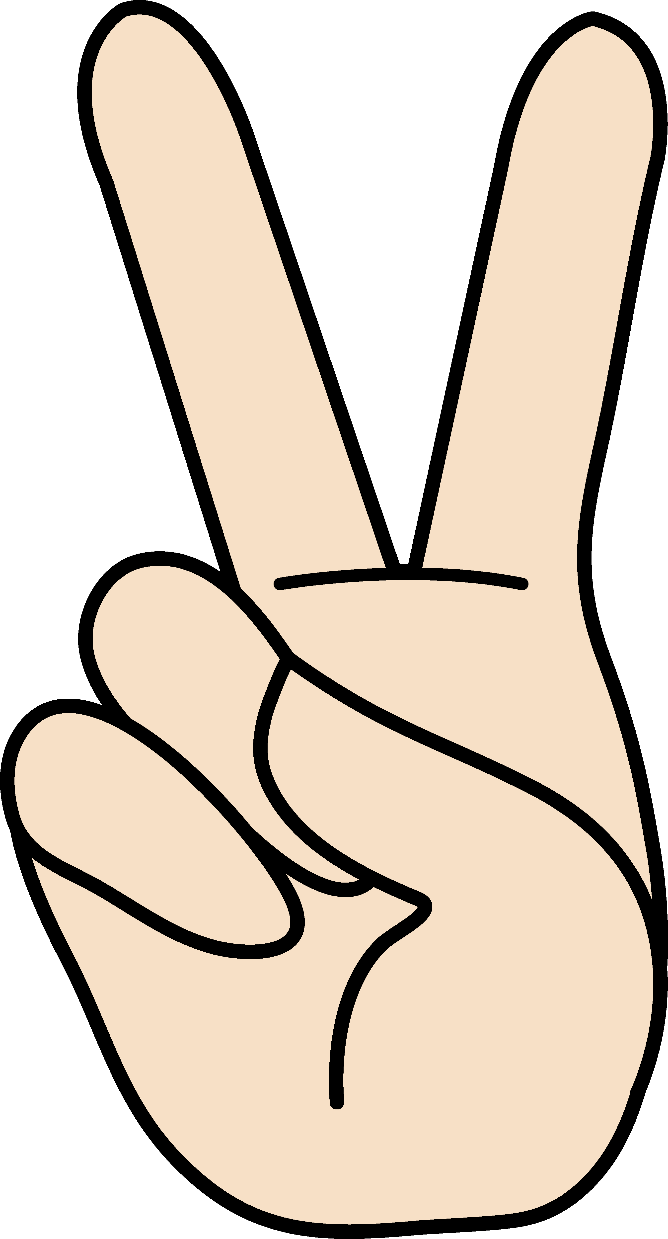 Peace Sign Hand Outline Peace Hand Sign Clipart Free