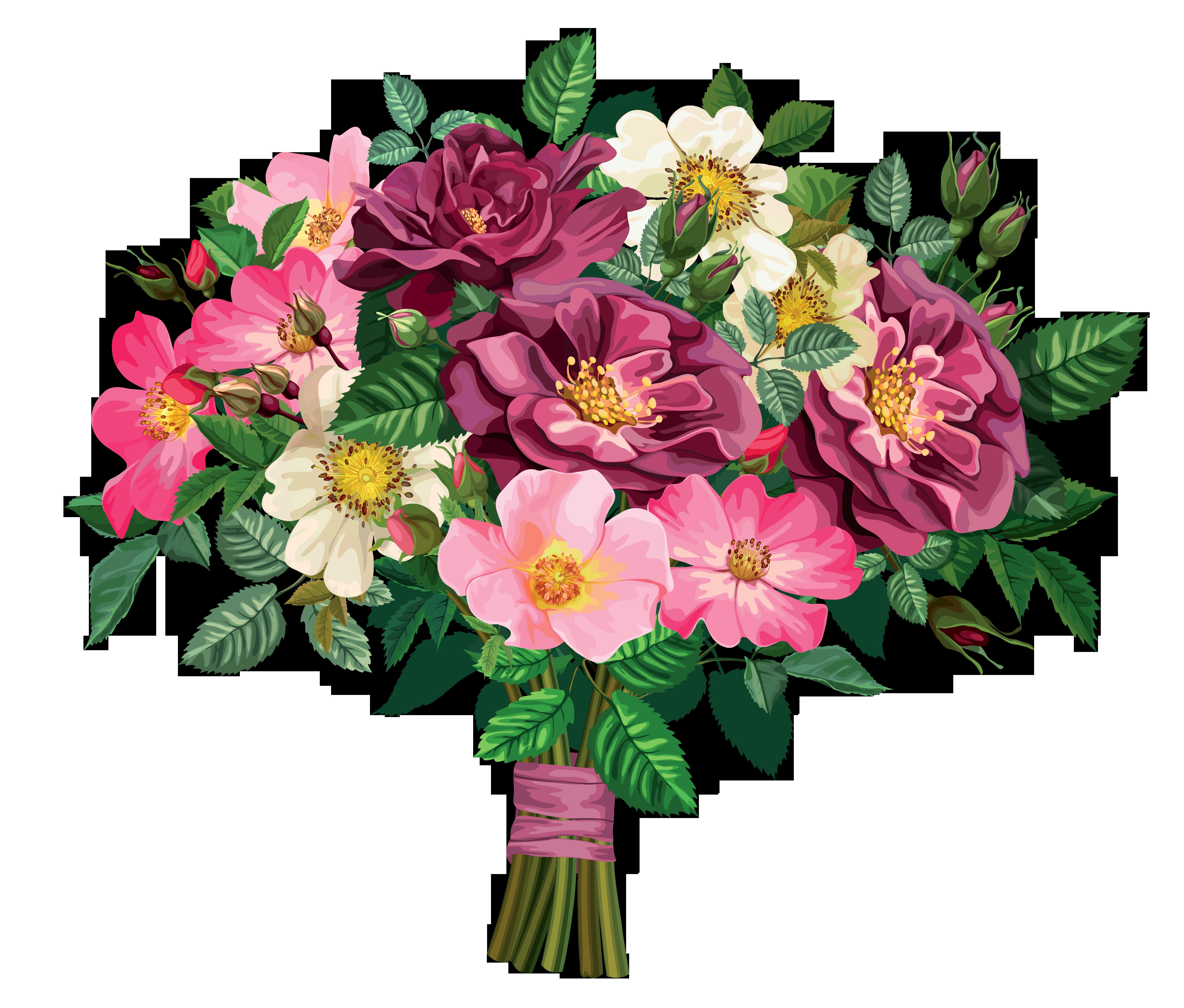 Rose Bouquet Transparent Clipart - Cliparts.co