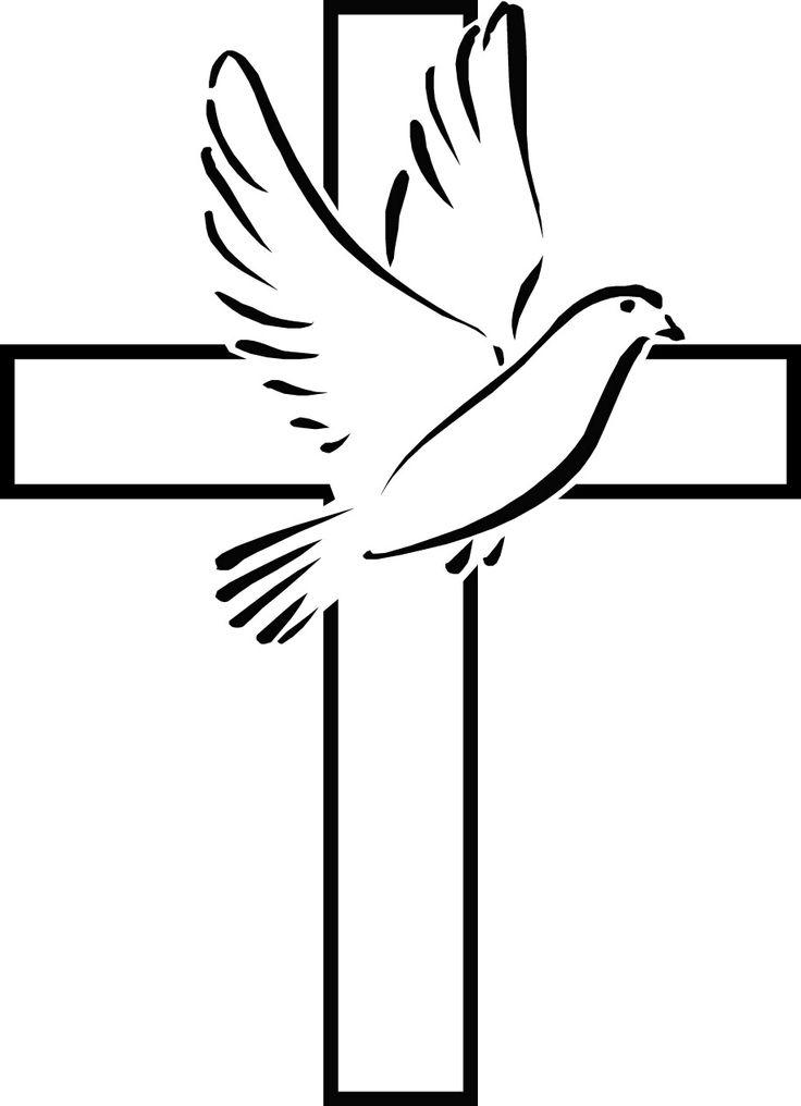 Simple Cross Line Art : Peace dove clipart cliparts