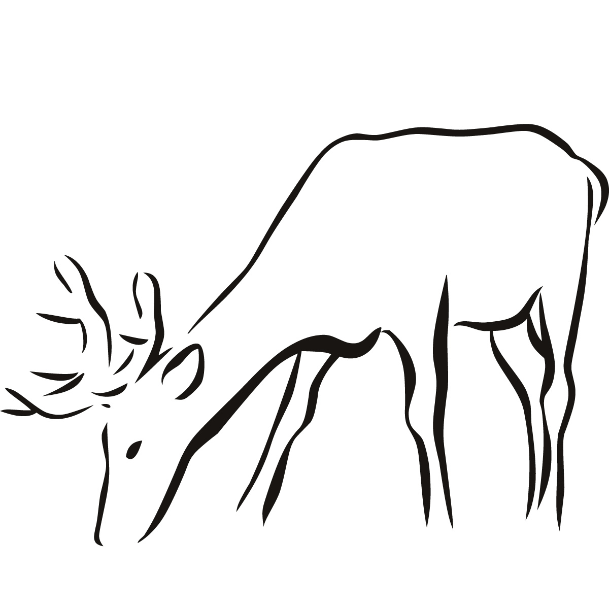Line Drawings Of Animals Deer : Animal outline cliparts