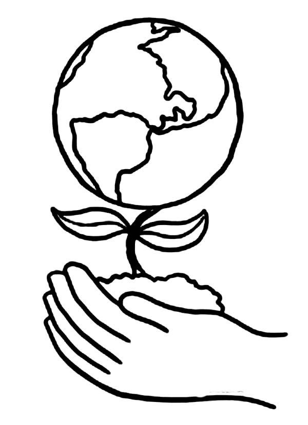 Planting a Healthier Earth on Earth Day Coloring Page : Kids Play ...