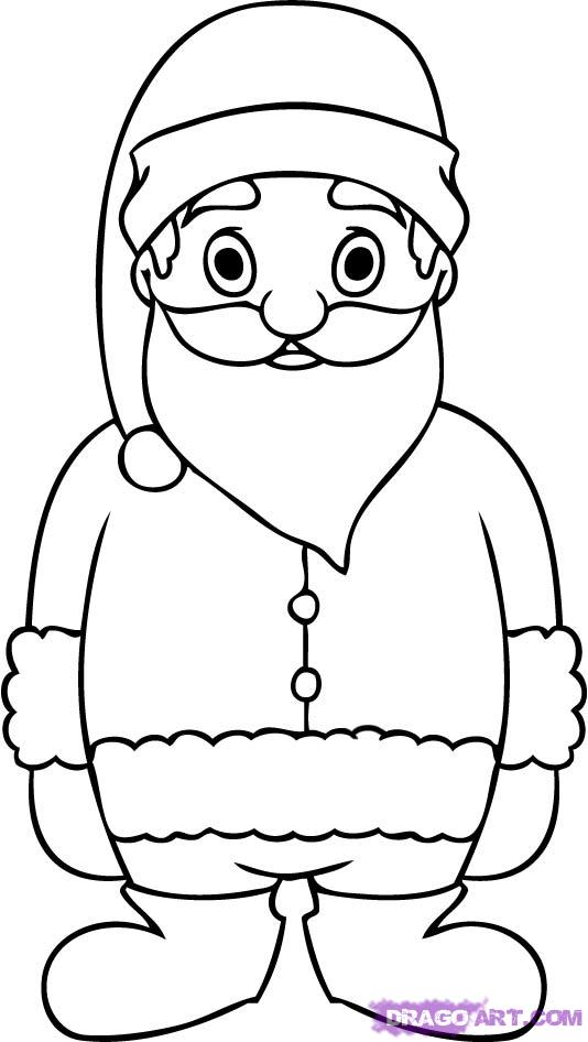 how to draw father christmas step by step