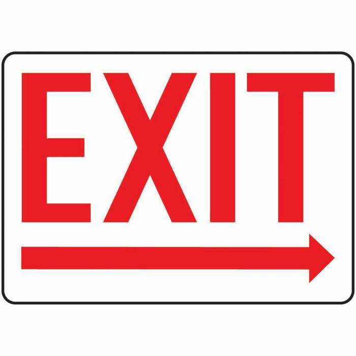 Safety Sign Exit arrow Right 10 X 14 Aluminum from Cole-
