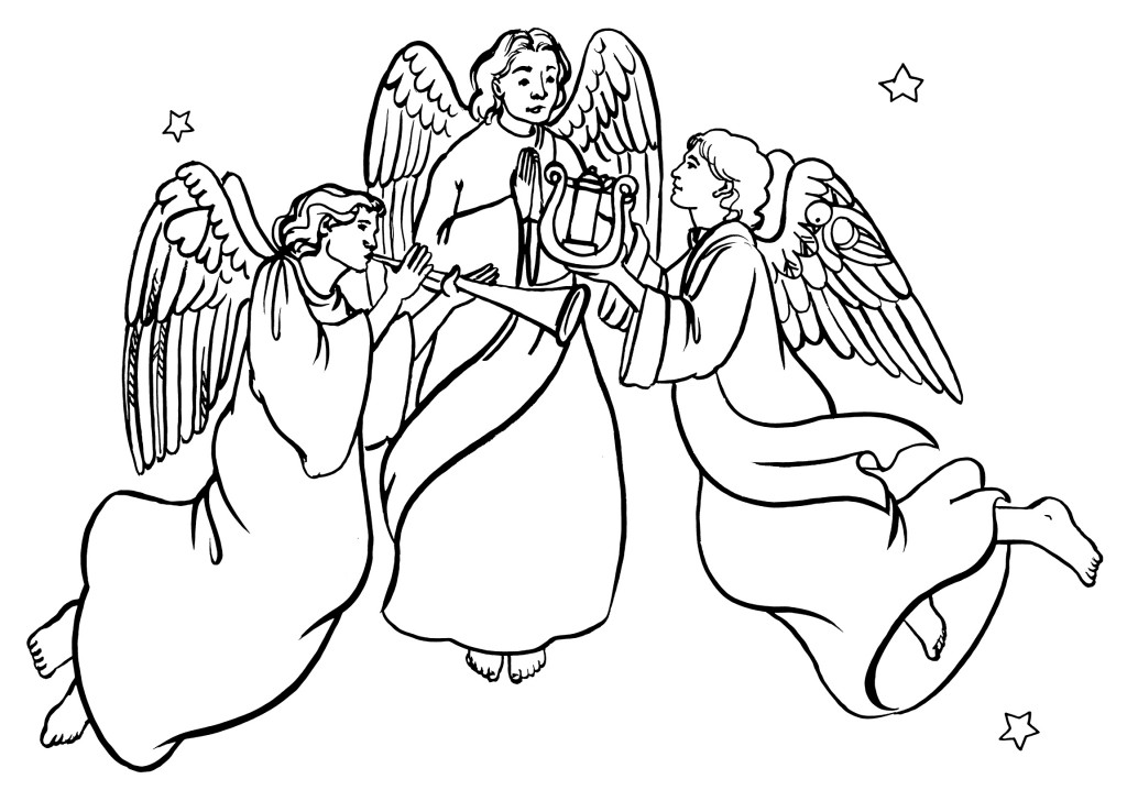 cartoon angel coloring pages | Pictures Of Angels Singing - Cliparts.co