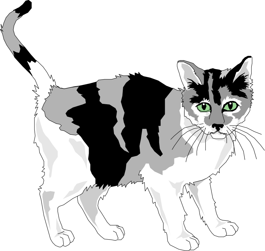 Black and grey cat Clipart, vector clip art online, royalty free ...