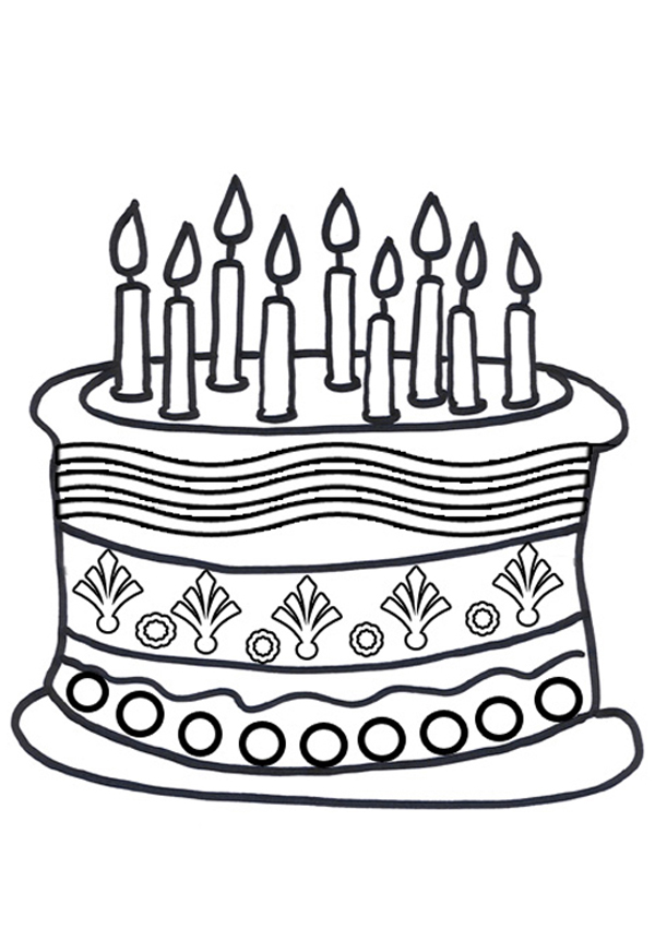 Free Online Birthday Cake Colouring Page