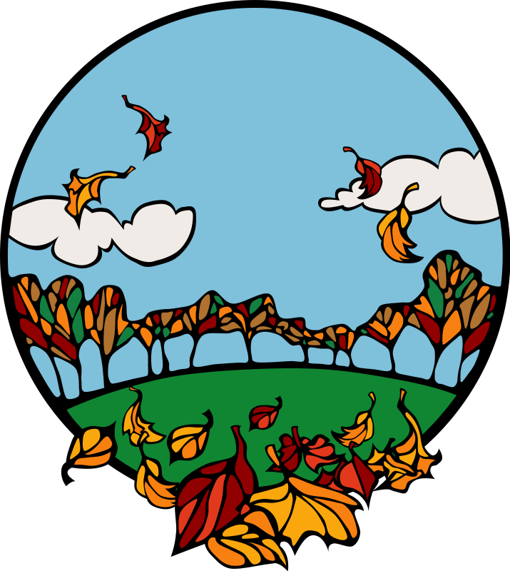 Blowing Fall Leaves Clipart