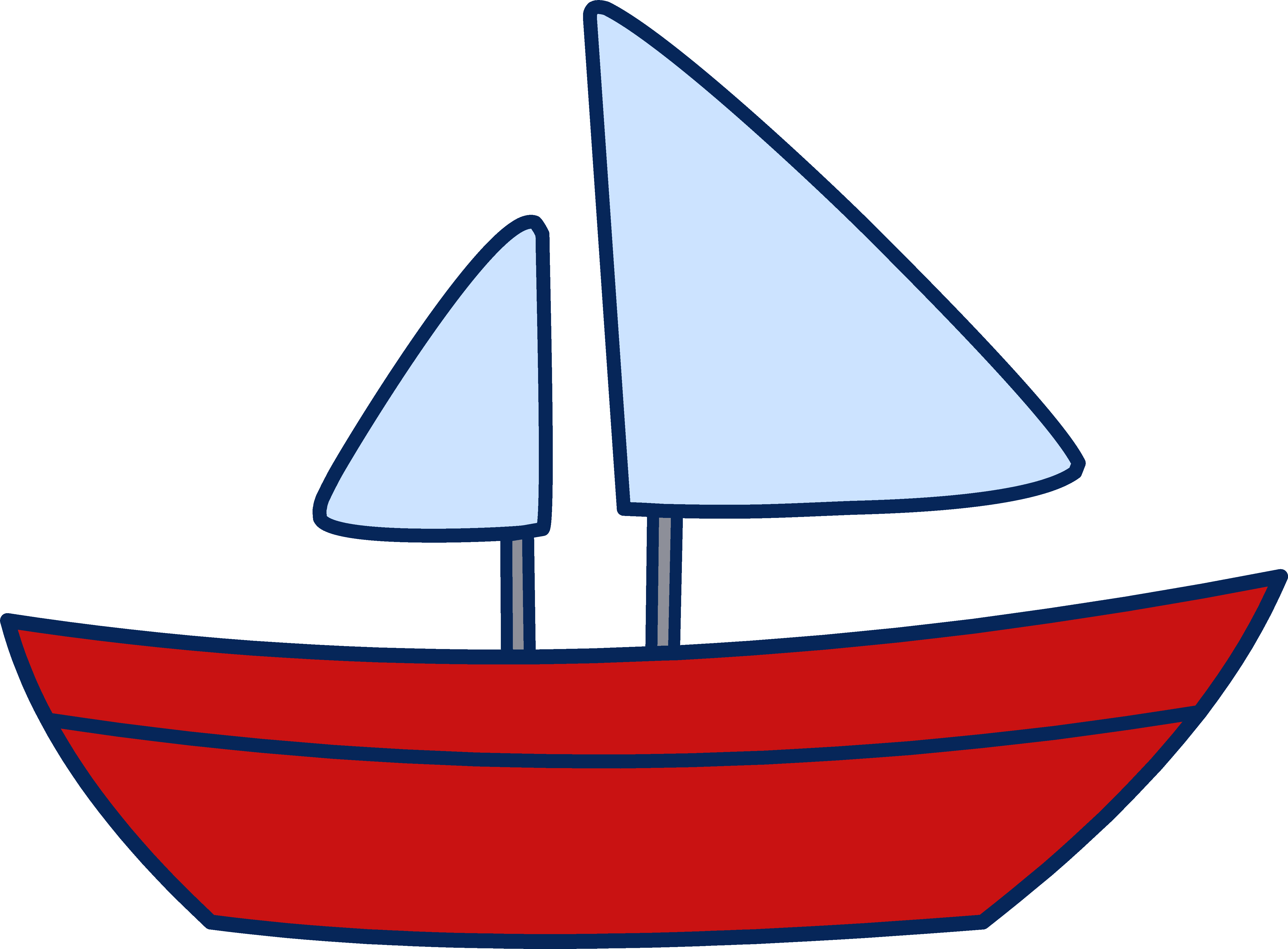 Cute Simple Sailboat Design - Free Clip Art
