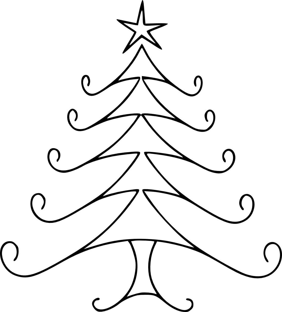 Simple Line Drawing Clip Art : Christmas tree line drawing cliparts