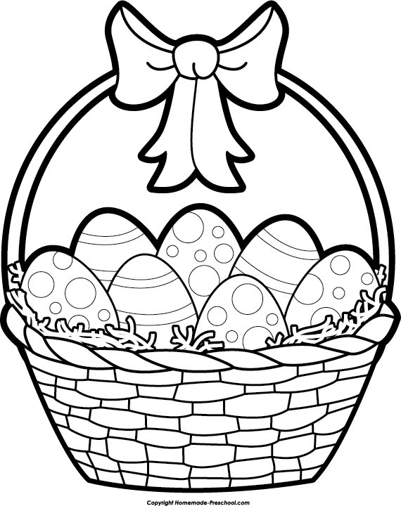 Line Art Easter Bunny : Picture of easter basket cliparts