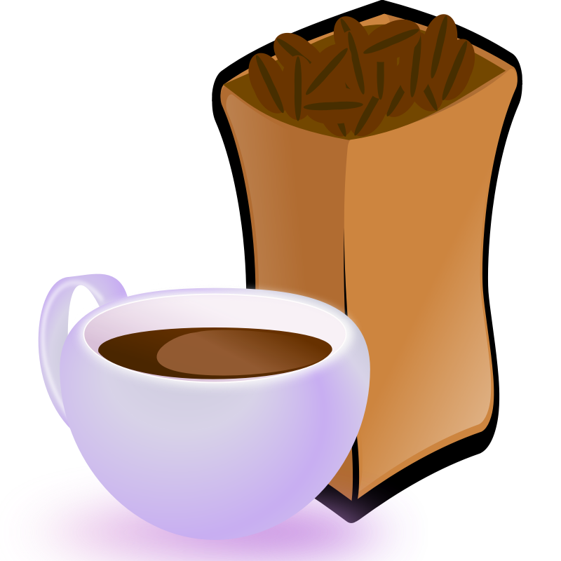 Clipart - Cup of Coffee with Sack of Coffee Beans