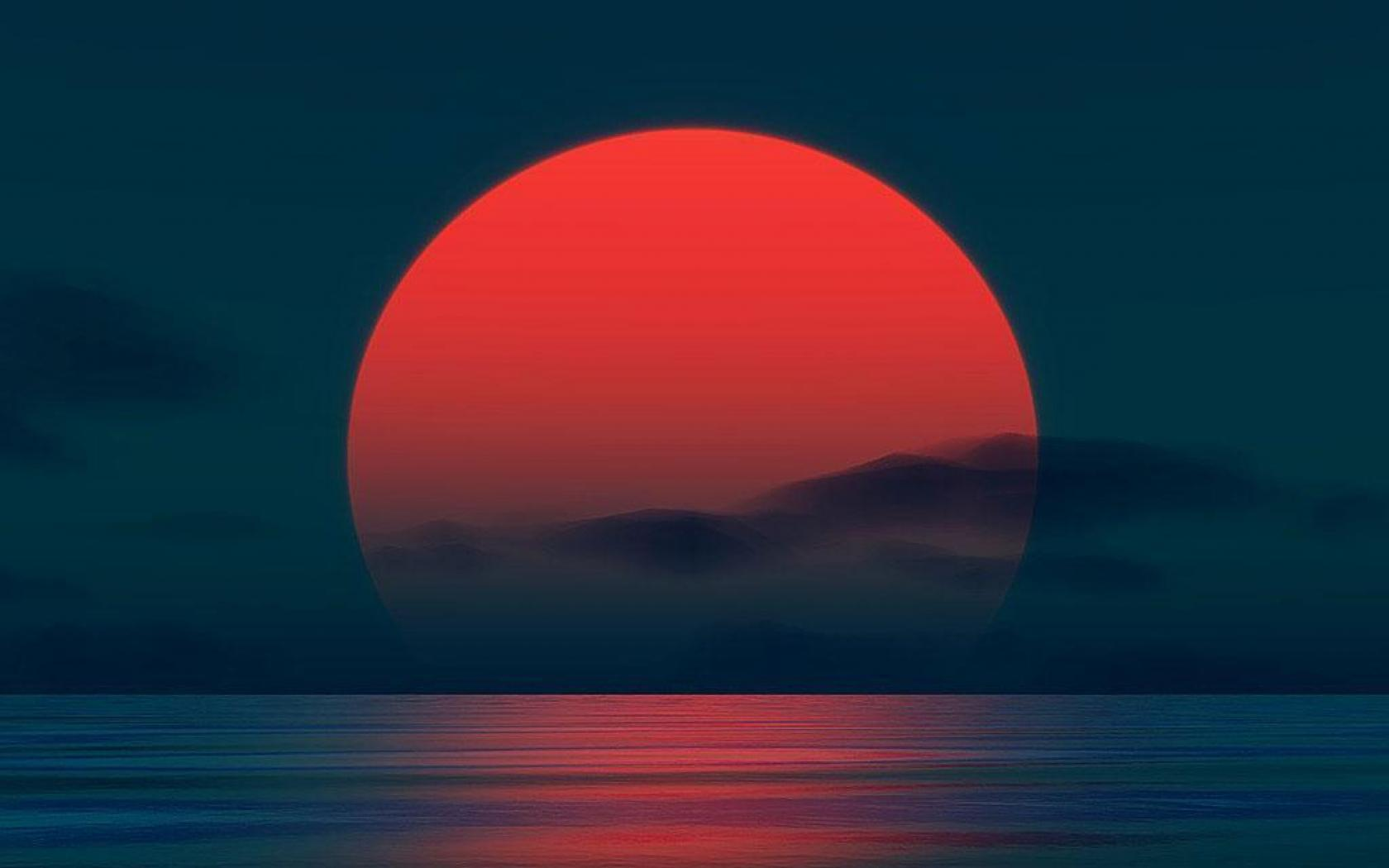 wallpaper: sunrise, rising sun, red, dark, dawn, shimmering lake ...
