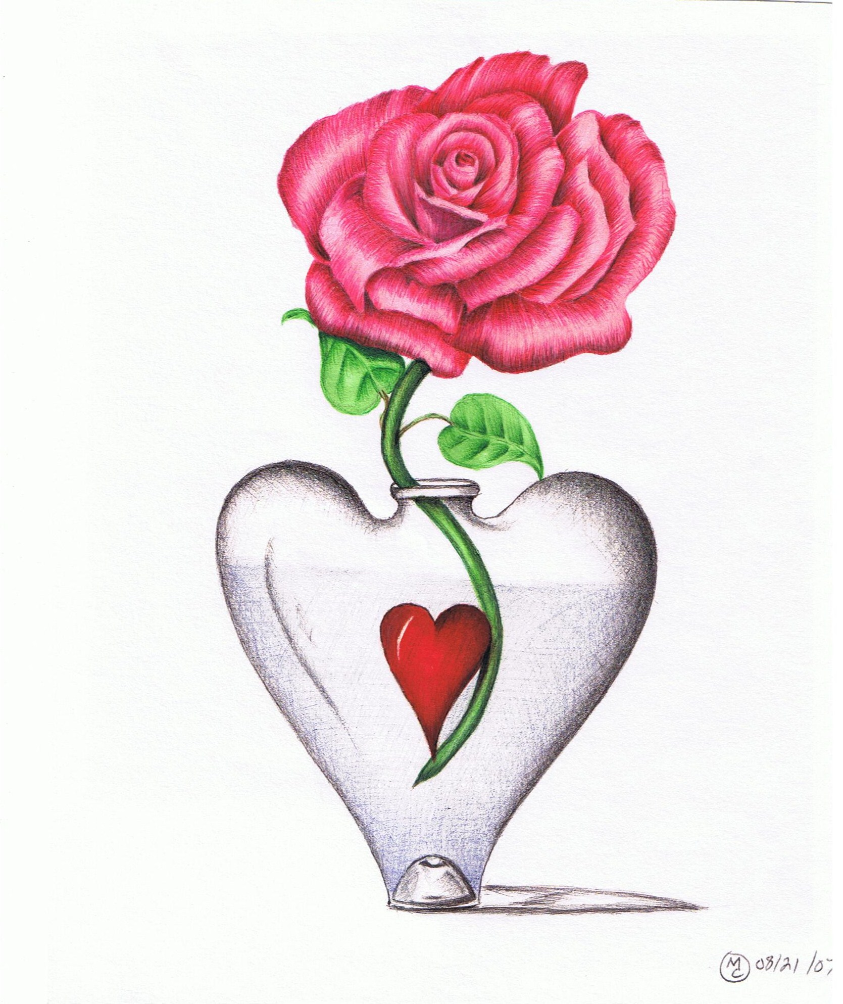 Roses And Heart Drawing - Cliparts.co