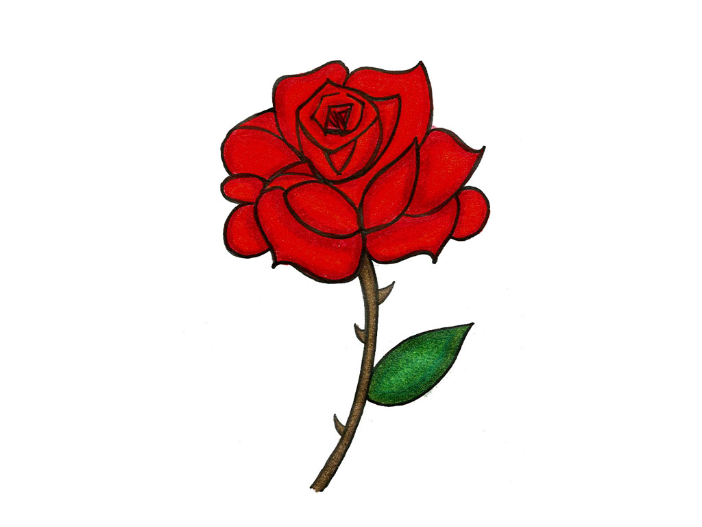 Cartoon Flower Line Drawing : Red rose cartoon cliparts