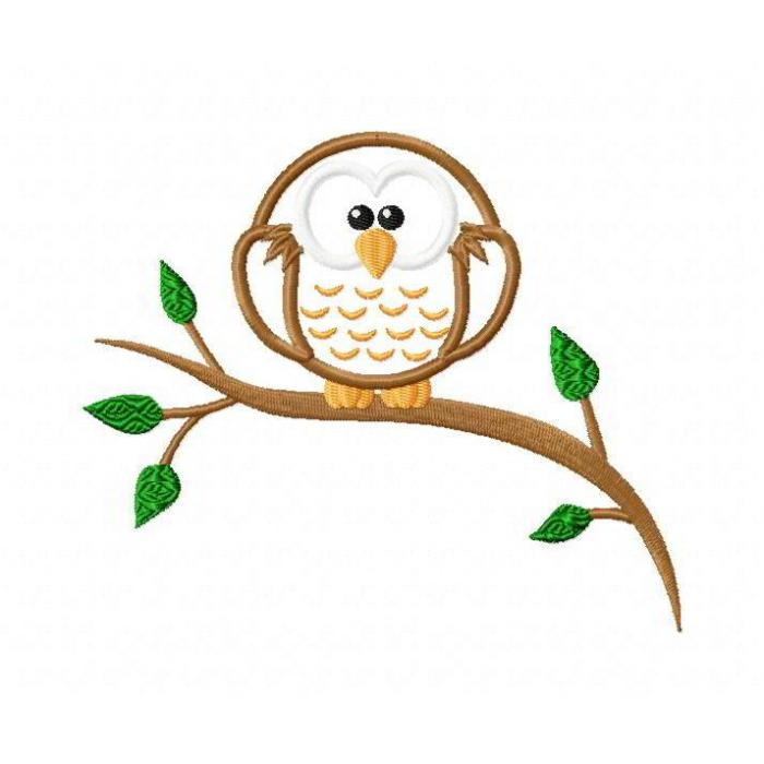 Owl on a Branch Applique Design