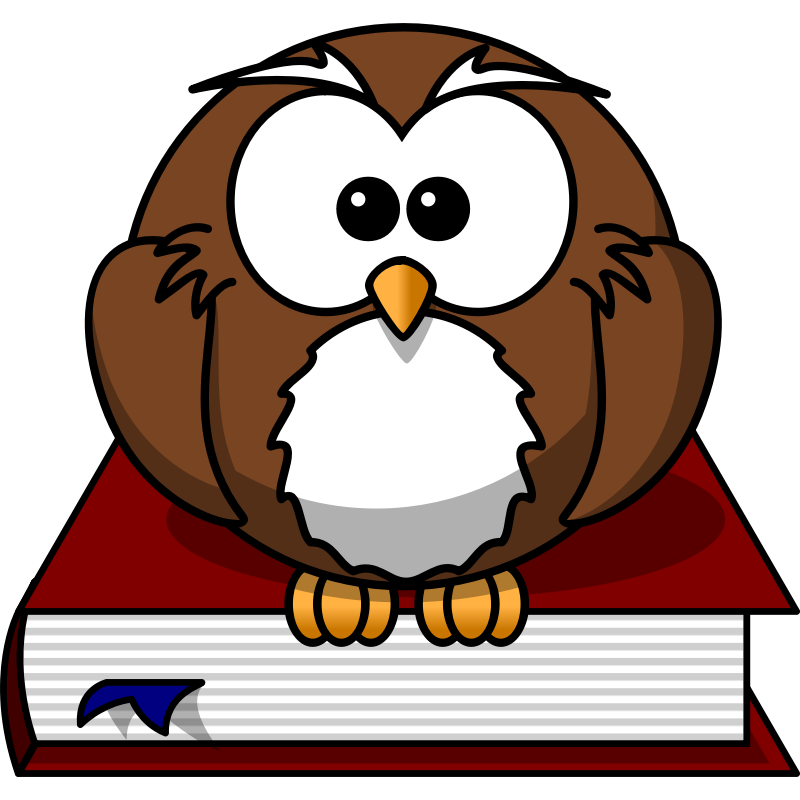 Clipart - Cartoon owl sitting on a book