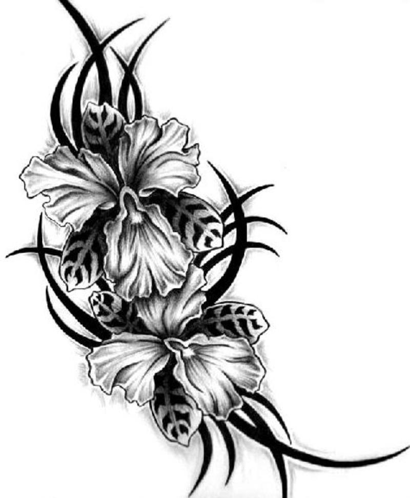 Flowers Tribal Tattoo Unique Flower Tattoos