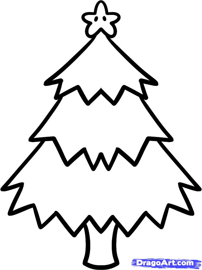 How to Draw a Christmas Tree for Kids, Step by Step, Christmas ...