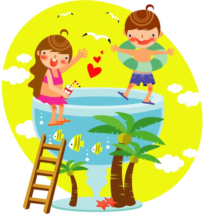 Summer clip art of children 3 Free Vector / 4Vector