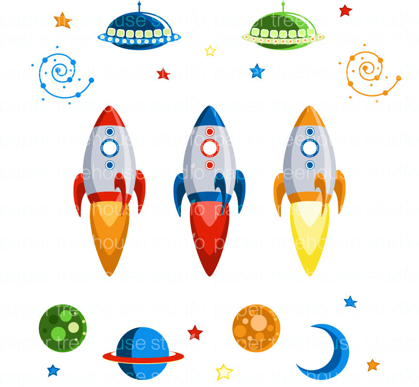 outer space with rocket ships - photo #11