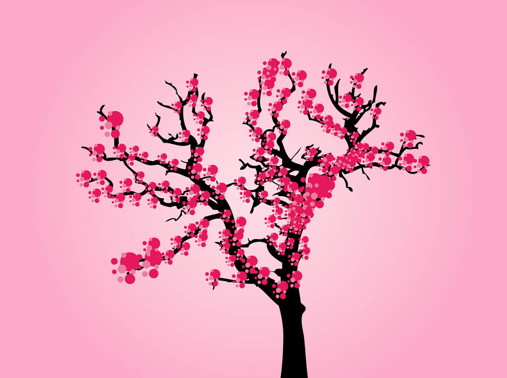Cartoon cherry blossom tree Japanese cherry blossom tree