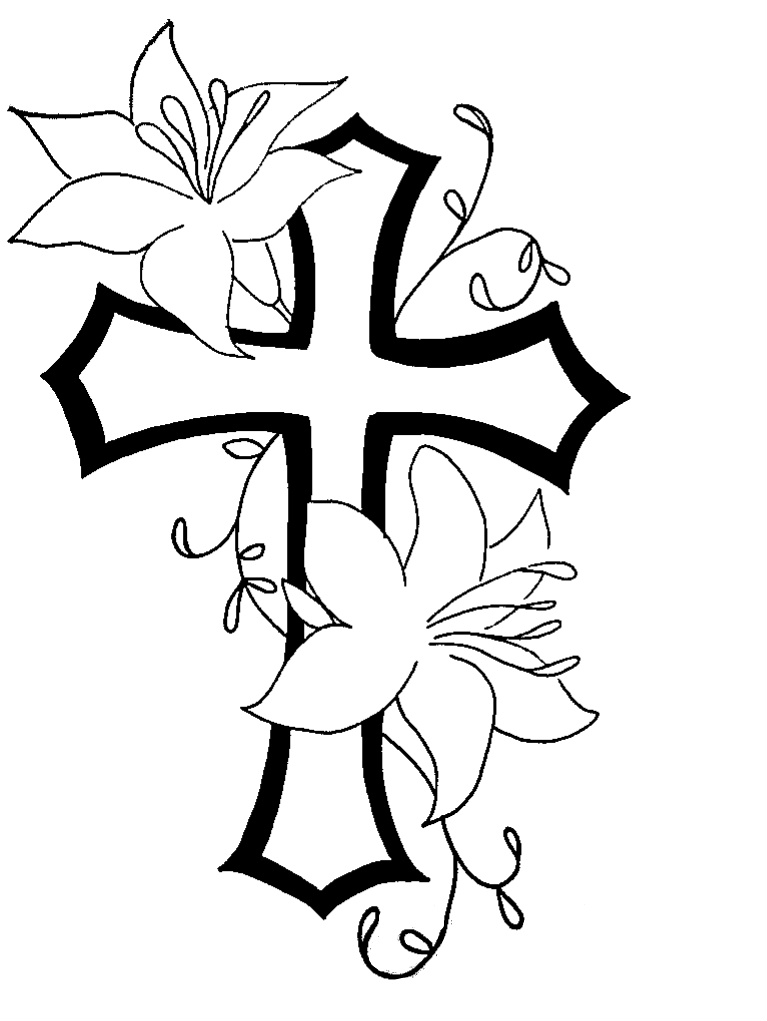 Cross n flower tat design