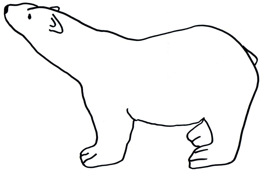 Baby Polar Bear Outline  images free download