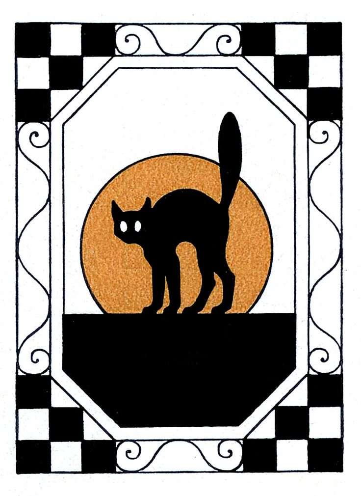 Vintage Halloween Clip Art - Black Cat with Moon