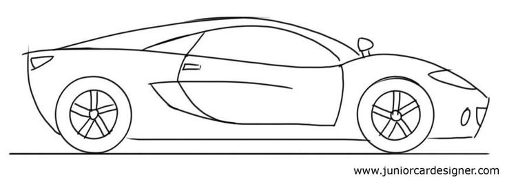 Car Drawing Tutorial: Sports Car Side View | Drawings | Pinterest