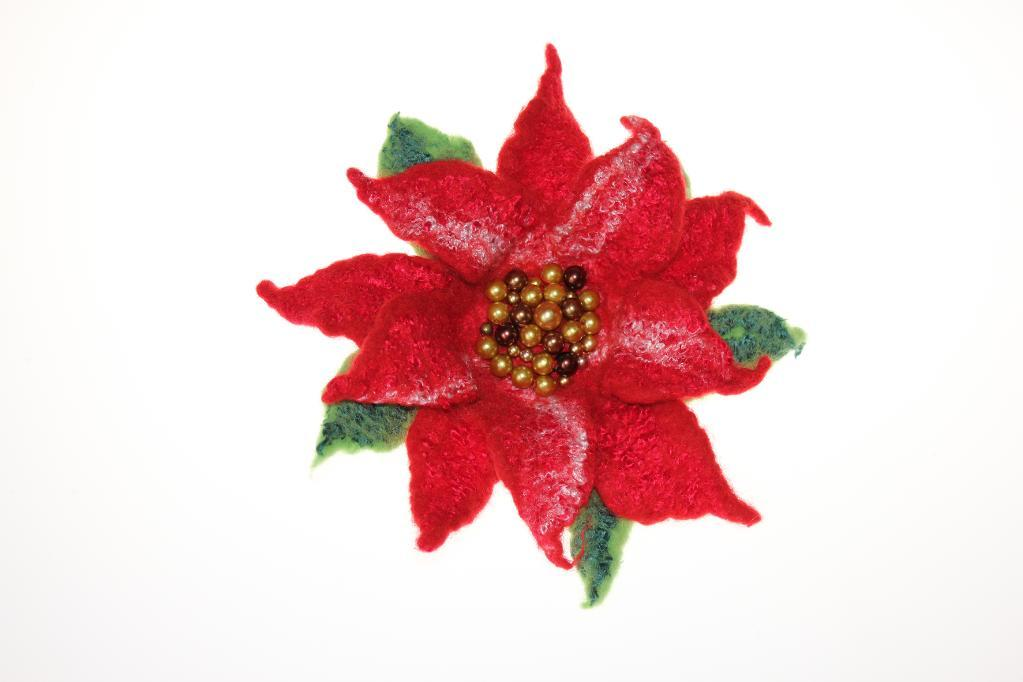 You Have To See Flower Christmas Poinsettia Hair Clip On Craftsy ...