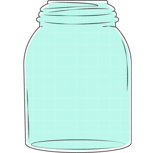 Mason Jar Blue - Quarter Clipart