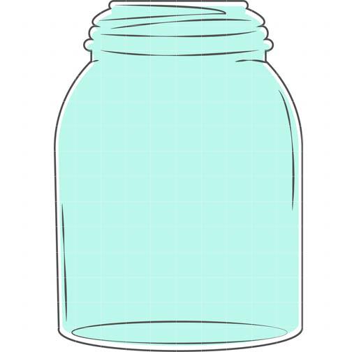 Mason Jar Blue - Quarter Clipart