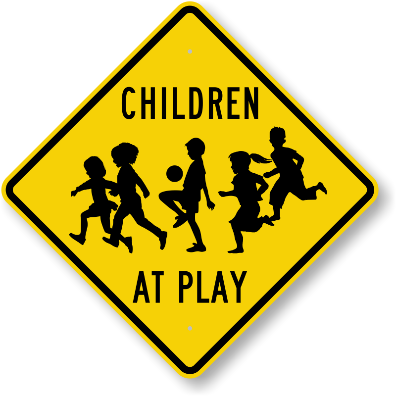 caution kids at play Feel safer when kids play outside and this friendly step2 safety sign is in the yard in a neon color with reflectors and a warning flag, this visual signal alerts nearby drivers to slow down and use caution while driving through your neighborhood.