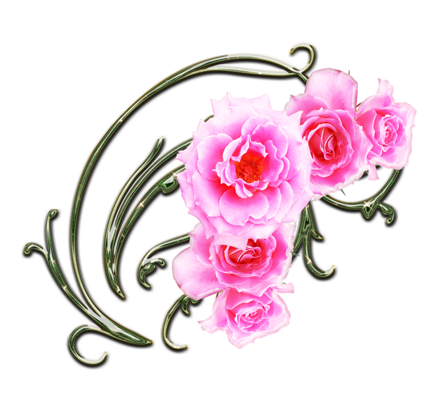 deviantART: More Like pink roses and green swirls png 2 by Melissa-tm