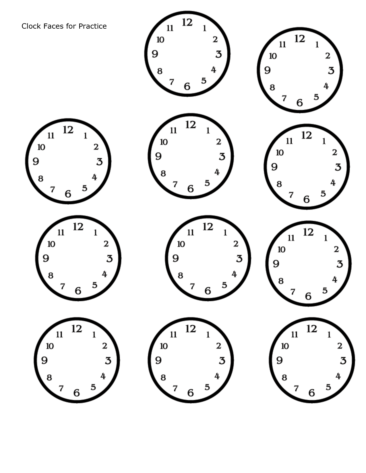 Adorable image regarding blank clock printable