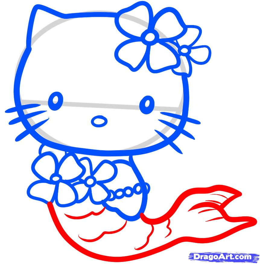 How to Draw Mermaid Hello Kitty, Step by Step, Characters, Pop ...