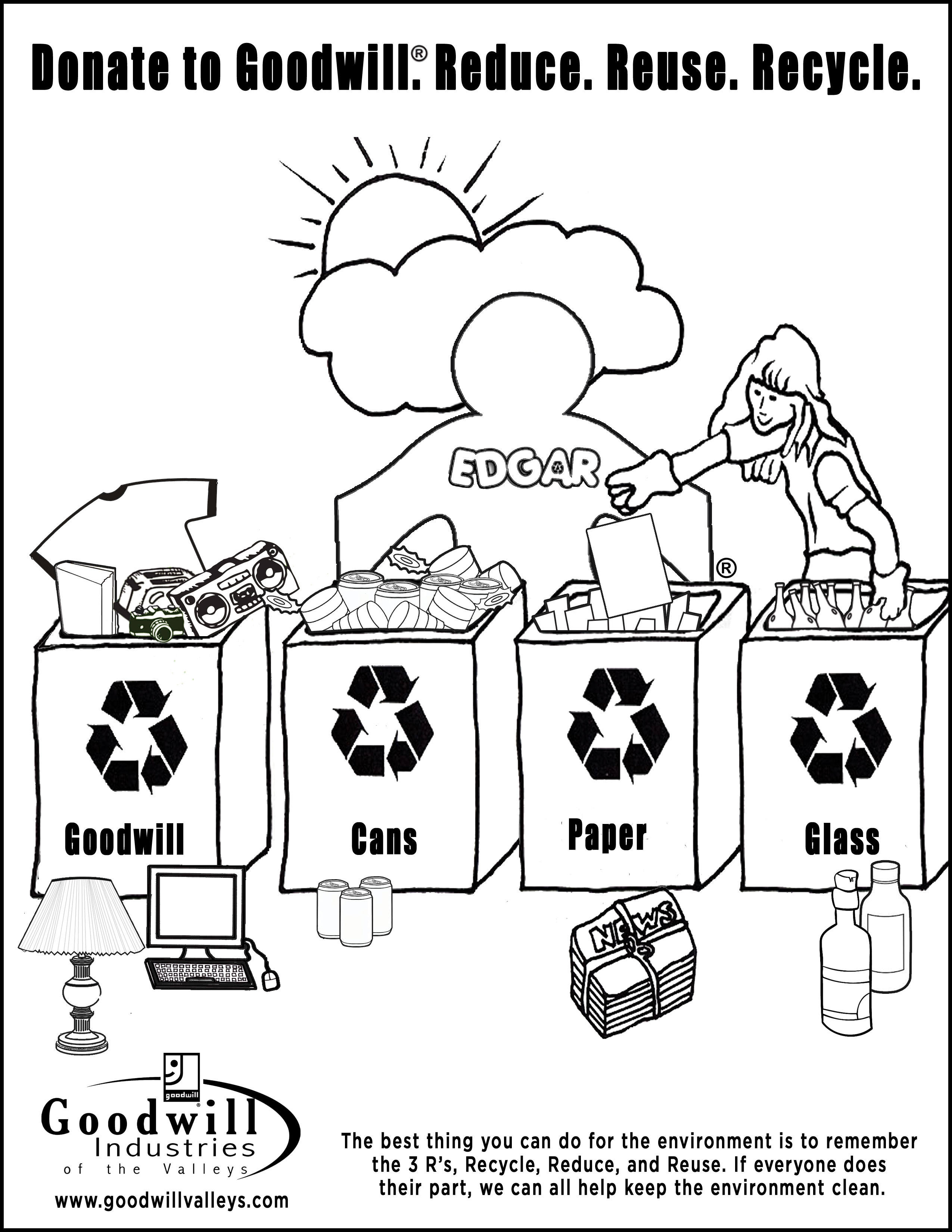 Colouring pages recycling - Recycling Coloring Pages Activity Atkinson Flowers